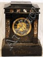 BELGIAN BLACK MARBLE MANTLE CLOCK, H 14