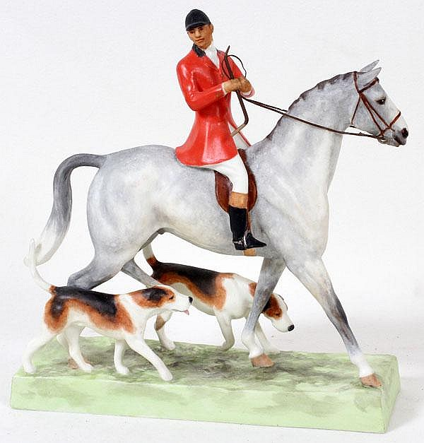DORIS LINDNER FOR ROYAL WORCESTER, PORCELAIN FIGURE 'HUNTSMAN & HOUNDS', H 7 1/2