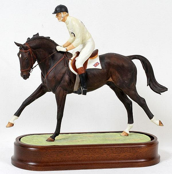 DORIS LINDNER FOR ROYAL WORCESTER, PORCELAIN FIGURE 'LAURIESTON & RICHARD MEADE O.B.E.', H 12 1/2