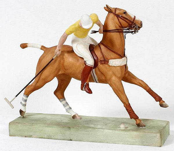 DORIS LINDNER FOR ROYAL WORCESTER, PORCELAIN FIGURE 'THE POLO PLAYER', H 7