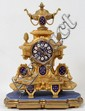 FRENCH GILT BRONZE & PORCELAIN MANTEL CLOCK, H 15