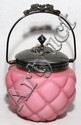 QUILTED PINK SATIN GLASS & SILVER PLATE BISCUIT BARREL, 19TH C., H 10