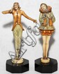 ART DECO POLYCHROME METAL FIGURES, PAIR, H 7 1/2