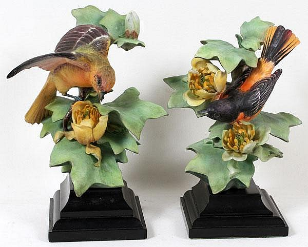 DOROTHY DOUGHTY FOR ROYAL WORCESTER, PORCELAIN BALTIMORE ORIOLES, TWO, H 8 1/2