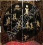 JAPANESE LACQUERED FOUR PANEL SCREEN WITH HARDSTONE INLAY, H 72