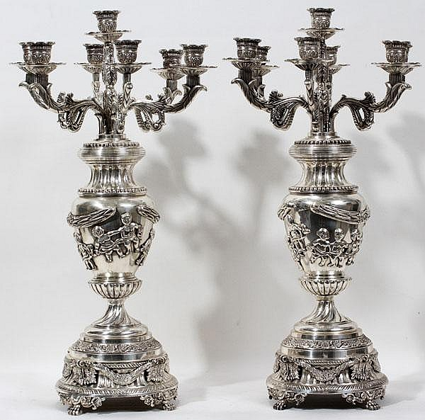 CONTINENTAL SILVER CANDELABRA, PAIR, H 24