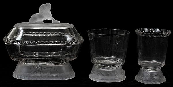 VICTORIAN STYLE PATTERN GLASS 'LION' COVERED COMPOTE, SPOONER & DISH