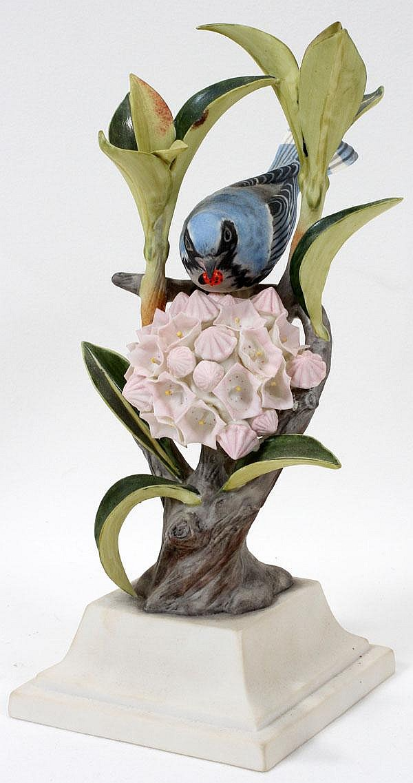 BOEHM PORCELAIN FIGURE GROUP 'BLUE WARBLERS', H 11