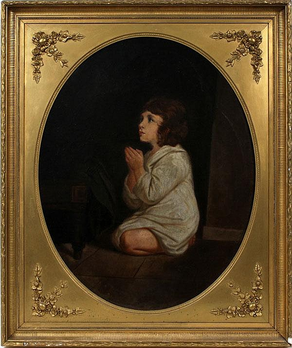 19TH C. OVAL OIL ON CANVAS, CHILD PRAYING, 36