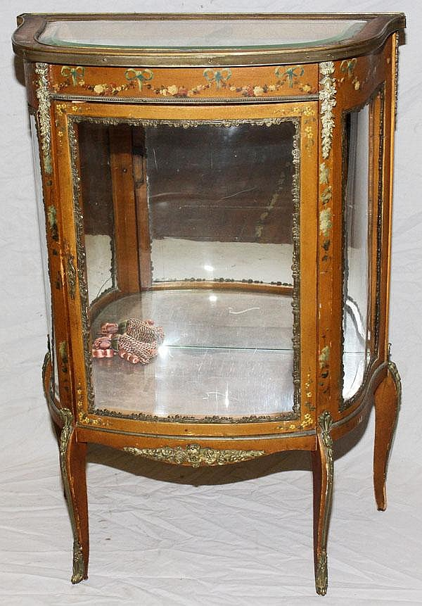 VERNIS MARTIN GILT & HAND PAINTED WOOD VITRINE,