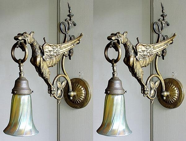 BRASS AND ART GLASS EAGLE-FORM SCONCES, PAIR, H