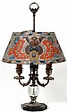 PAIRPOINT REVERSE PAINTED GLASS TABLE LAMP, H 26