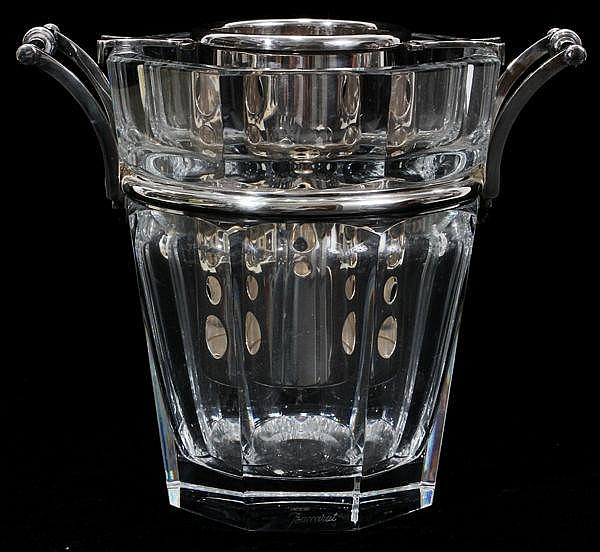 BACCARAT 'HARCOURT' CUT CRYSTAL & SILVER-PLATE ICE