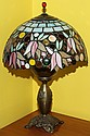 BRADLEY & HUBBARD LAMP, TIFFANY STYLE SHADE