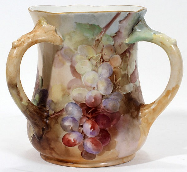 FRANZ A. BISCHOFF HAND PAINTED PORCELAIN LOVING CUP