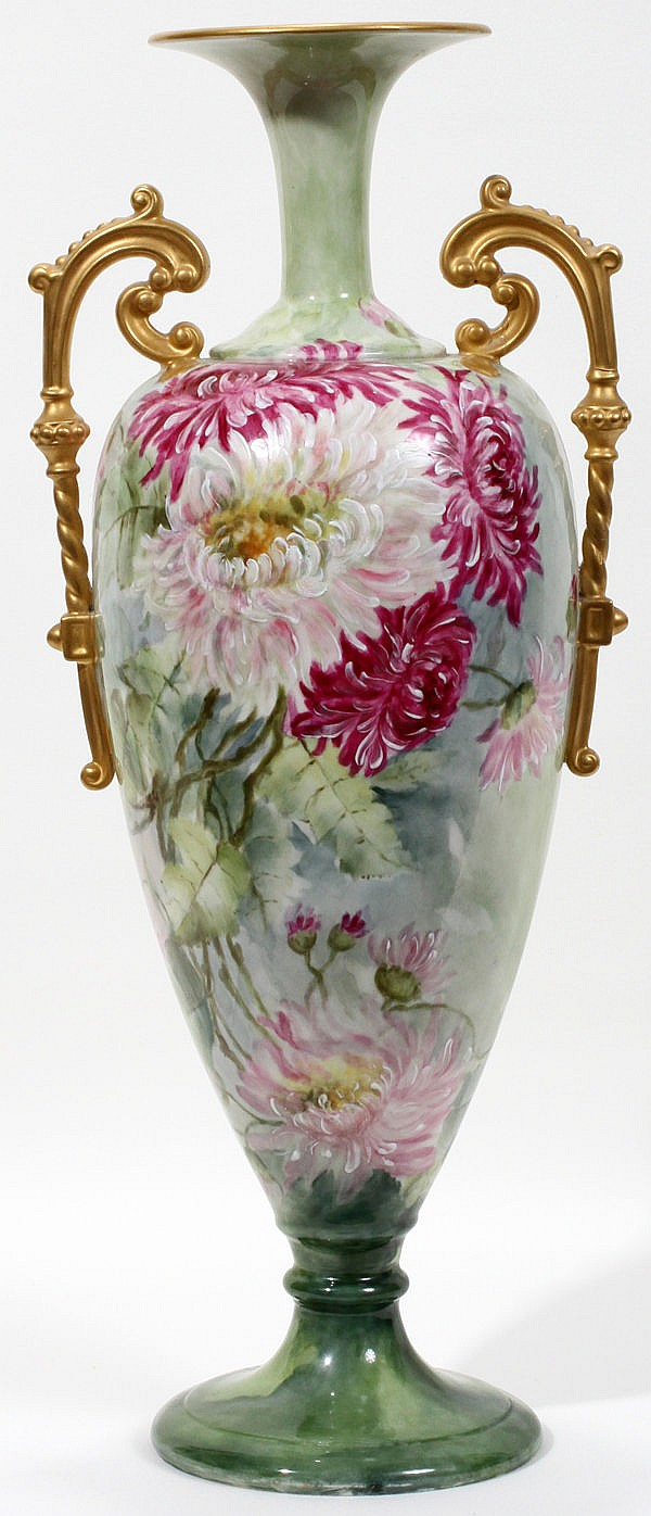 WILLETS-BELLEEK HAND PAINTED PORCELAIN VASE, C. 1900, H 18