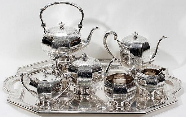 BLACK, STARR, & FROST STERLING SILVER TEA & COFFEE SERVICE WITH TRAY, SEVEN PIECES