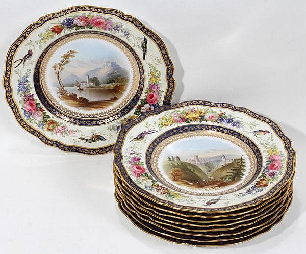 SPODE PORCELAIN SCENIC PLATES, SET OF NINE, DIA 9 1/4