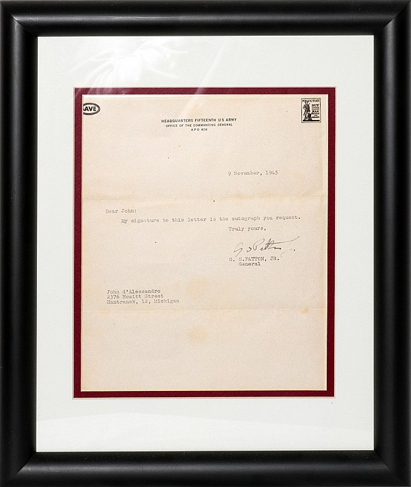 GEORGE S. PATTON SIGNED LETTER, 1945, 2 PCS.