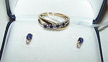 Blue Saphire & Diamond Pierced Earrings & Ring ( Size 6.5, 2.9g)