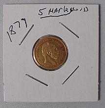 1877 5 Mark Gold Coin Ger.