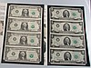 2 Sets of 4 Uncut Sheets $1- from 1985 & $2- from 1976