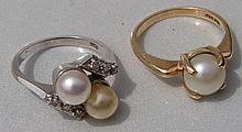 Pearl Rings: Single Pearl Ring 3.3g 14k Yellow Gold, Double Pearl Ring w/ Diamonds  3.7g 14k White Gold