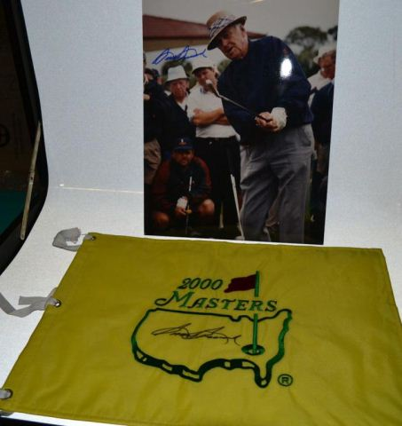 Sam Snead autographed Masters Flag Pin & photograph
