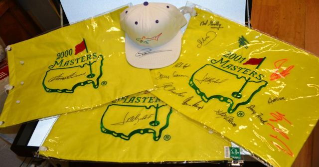 4 autographed Golf: Greg Norman Hat, Sam Snead pin 2000 Masters Pin Flag & MORE inc Vijay Singh