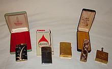 4 Antique Lighters & Ashtray: 1974 Zippo Slim Lighter in Box,  1989 Gold Zippo w/ Etched Case, 1965 Ronson Varaflame Lighter, Vintage Colibri Electro-Quartz Lighter, 70s Vintage Portable Personal Pocket Cigarette Metal Ashtray Gold Color - Etched