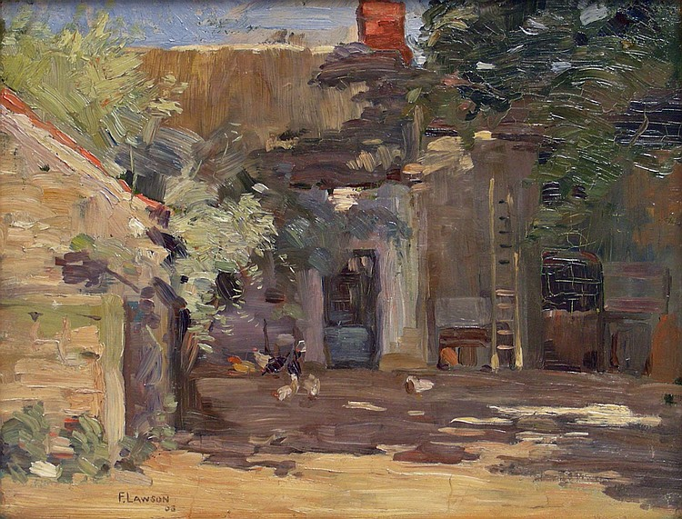 Fred Lawson (1888-1968): Hens in the Farmyard, oil