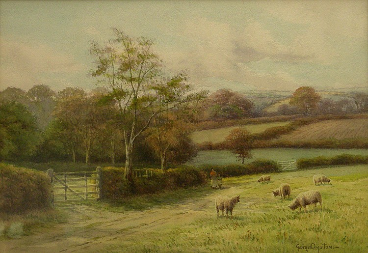 George Oyston (1861-1937): Sheep Grazing,
