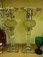 Pair of late Victorian hobnail cut crystal oil