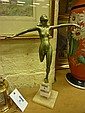Art Deco period cast metal sculpture of a girl