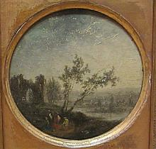 French School (19th Century): Stone Ruins with Figures, oil on circular wooden panel unsigned 10cm