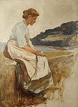 •STANHOPE ALEXANDER FORBES RA (1857-1947) A study of a woman seated on a ha