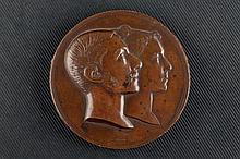 Medalla de bronce conmemorativa de la Boda de Alfonso XII y la Reina María