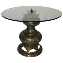 Cloisonne Glass Top Accent Table
