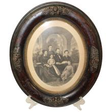 Oval Family Portrait Engraving