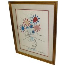 Picasso Lithograph Peace Flowers