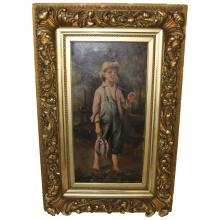 Victorian O/C Boy with Fishing Pole.  Signed.