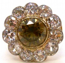 2.70ct Fancy Dark Yellow Brown Diamond Ring