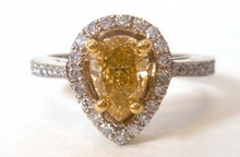 1.07ct Fancy Natural Deep Yellow Diamond Ring