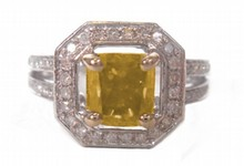 1.55ct Fancy Dark Brown Greenish Yellow Natural Diamond Ring