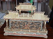 CHINESE CARVED BONE DRAGON & PHOENIX TEMPLE