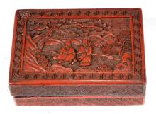 A CHINESE RED LACQUER BOX WITH FIGURES