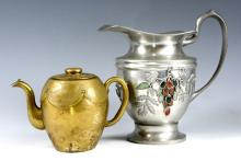 A CHINESE AGATE CREAMER AND A COPPER WATER POT