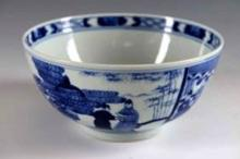 A CHINESE BLUE AND WHITE PORCELAIN BOWL WITH KANGXI