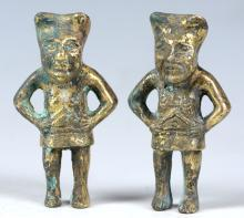 A PAIR OF CHINESE HAN STYLE GILT FIGURES