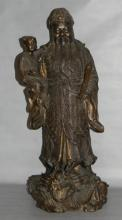 CHINESE BRONZE SCULPTURE IMMORTAL WITH CHILD
